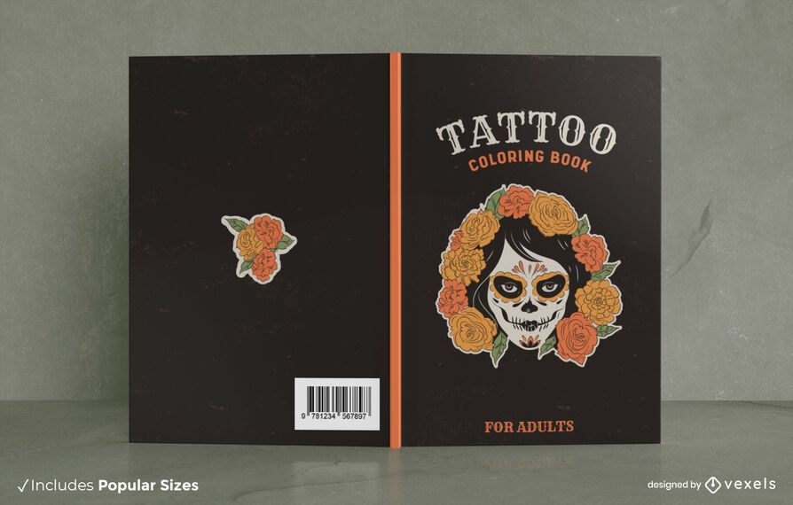 Tattoo coloring book cover design