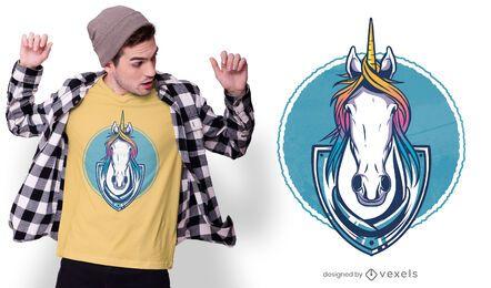 Diseño de camiseta de trofeo de unicornio.