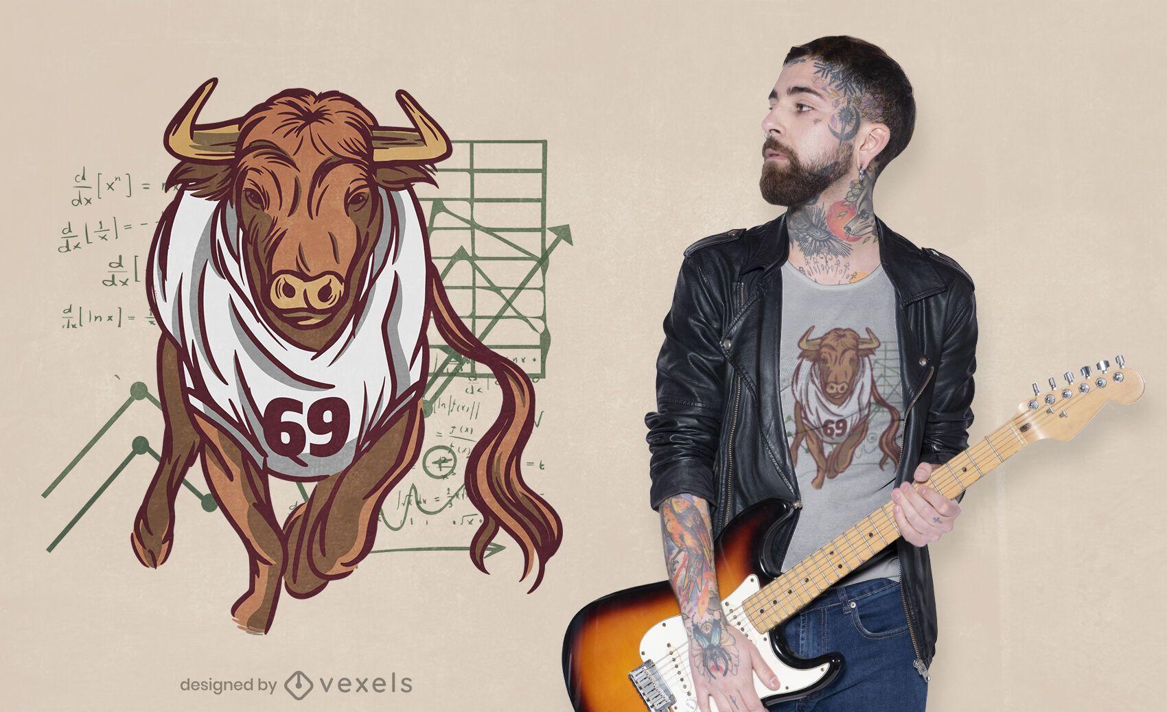 Diseño de camiseta de toro bursátil.