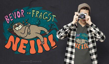 Diseño de camiseta alemana perezoso perezoso.