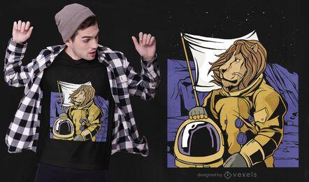 Diseño de camiseta de león espacial