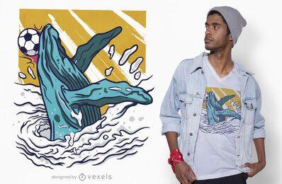 Soccer whale t-shirt design