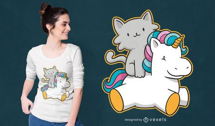 Diseño de camiseta de gato montando unicornio.