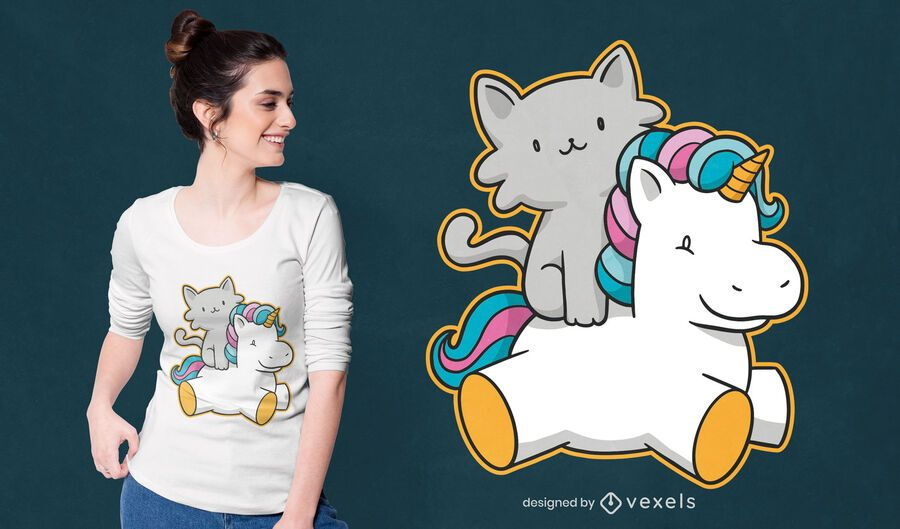 Cat riding unicorn t-shirt design
