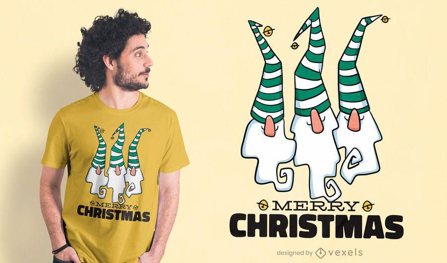 Diseño de camiseta de feliz Navidad gnomos