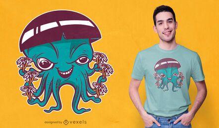 Diseño de camiseta hippie pulpo