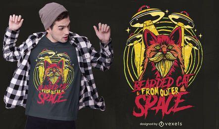 Design de t-shirt de gato barbudo espacial