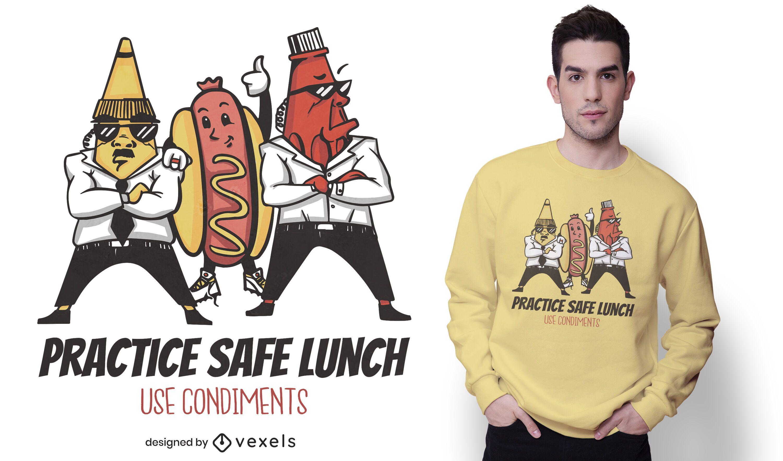 Design engraçado de camisetas de cachorro-quente