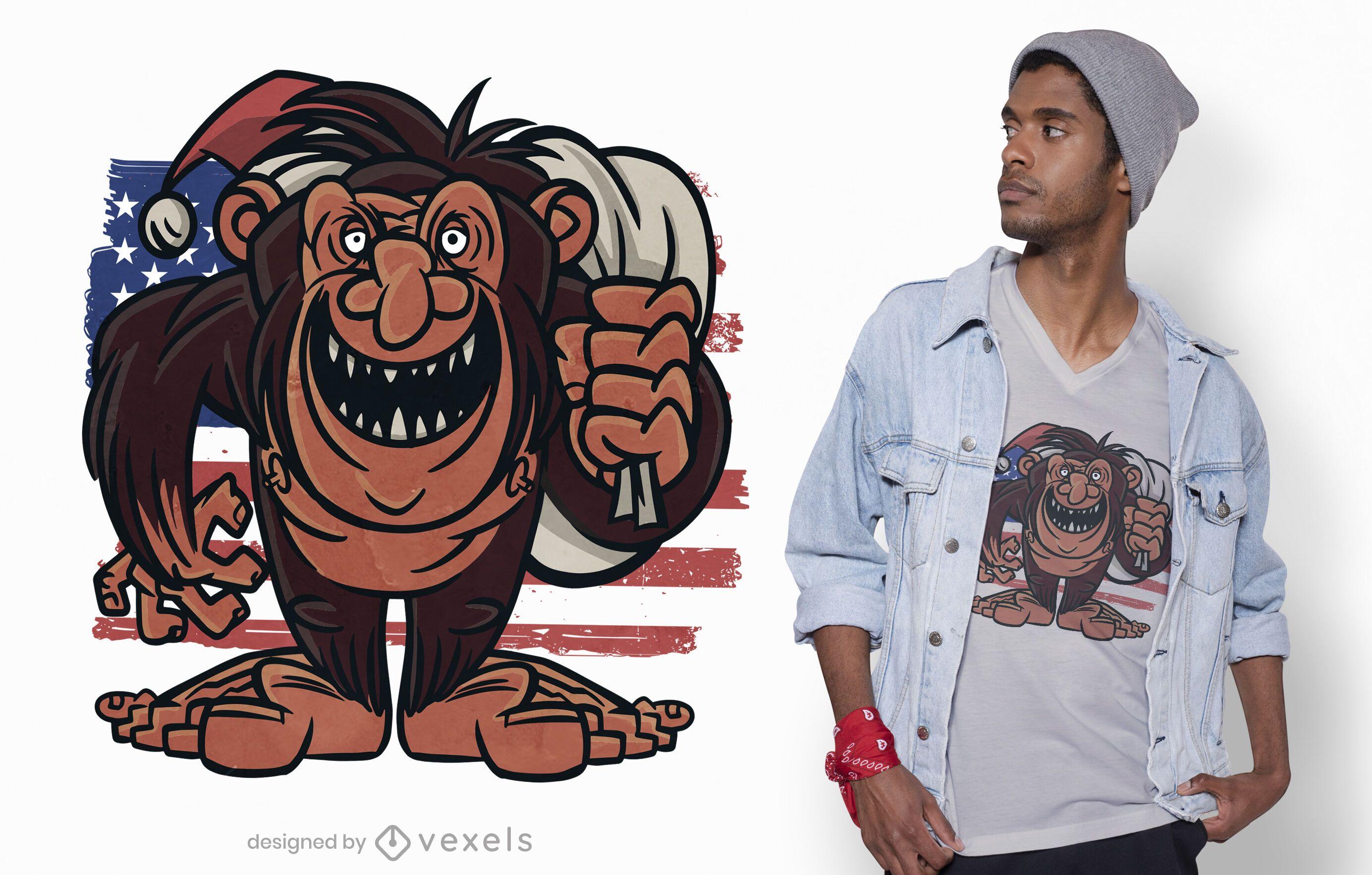 Diseño de camiseta American Bigfoot