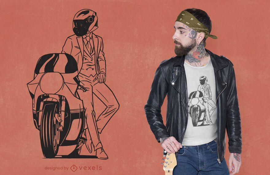 Diseño de camiseta de motorista de caballero.