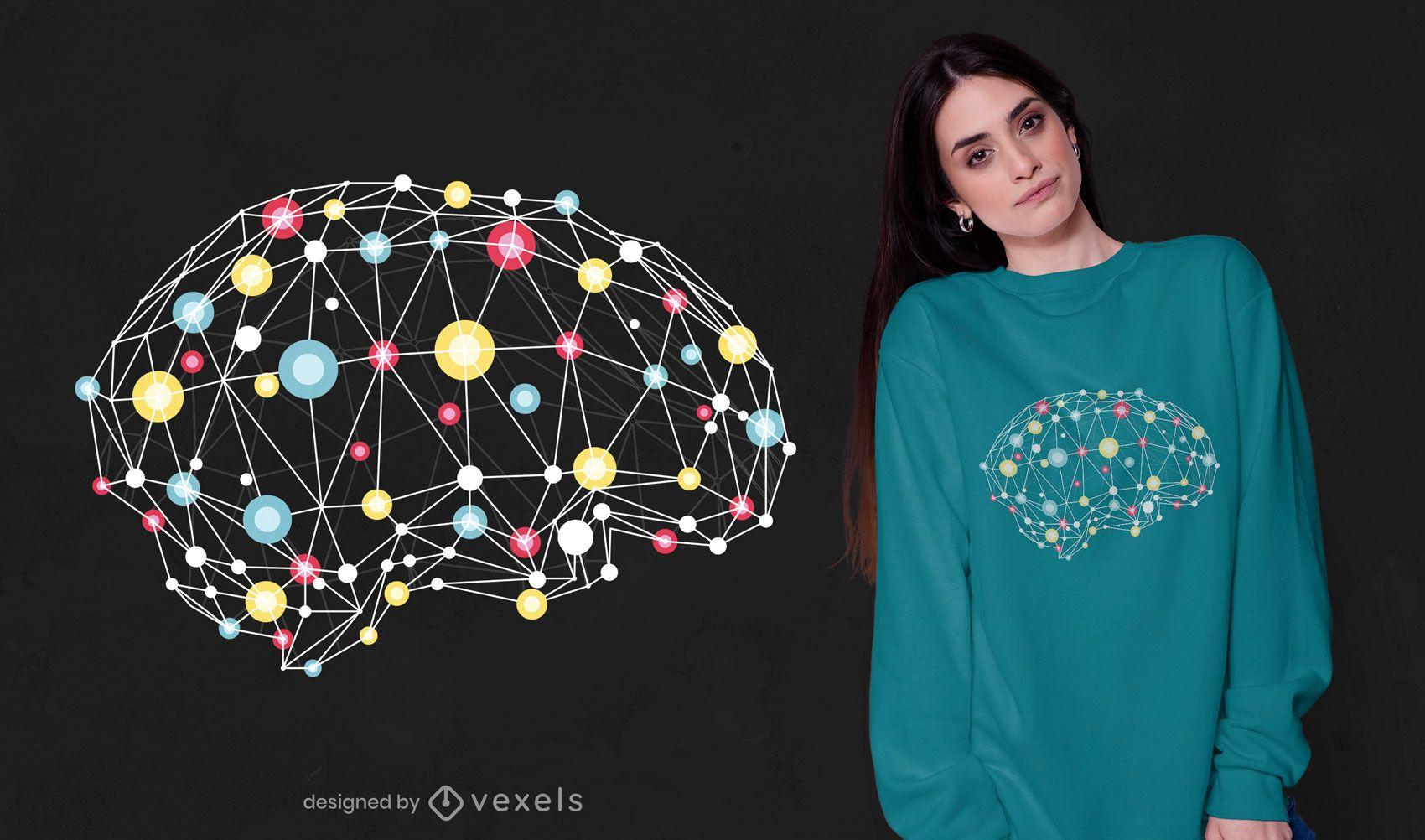 Diseño de camiseta de conexiones cerebrales.