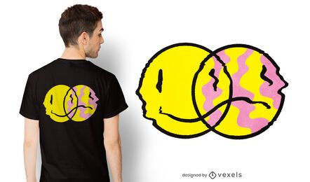 Diseño de camiseta emoji triste feliz
