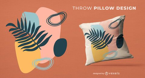 Leaf shapes throw pillow design