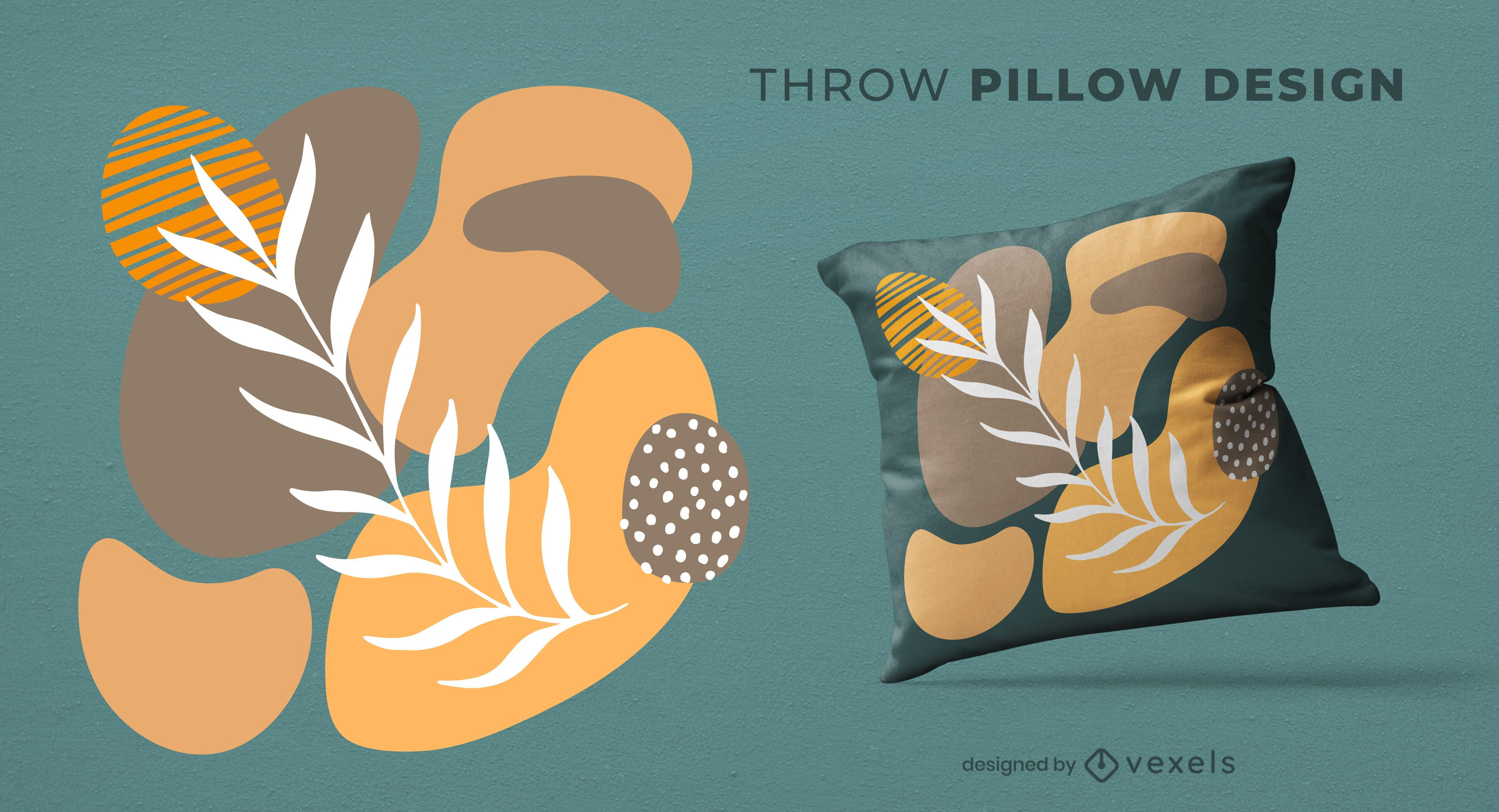 Nature abstract throw pillow design