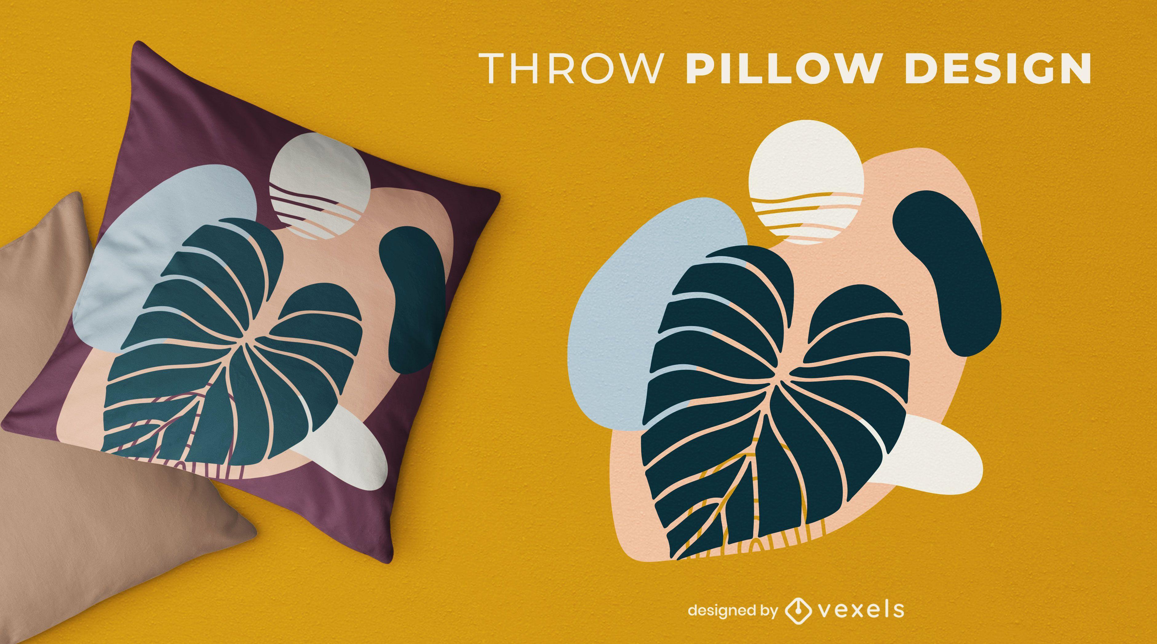 Diseño de almohada de tiro abstracto de hoja