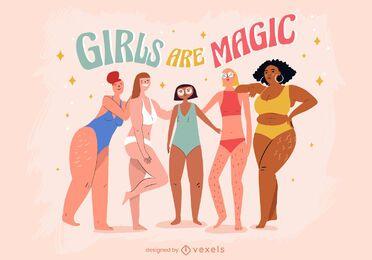Las niñas son ilustración mágica