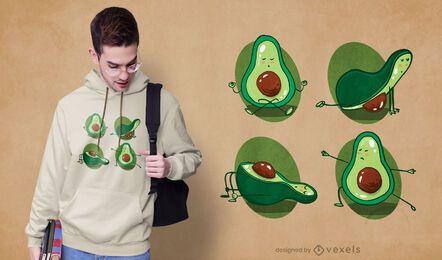 Design de t-shirt de ioga com abacate