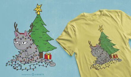 Diseño de camiseta de gato enredado