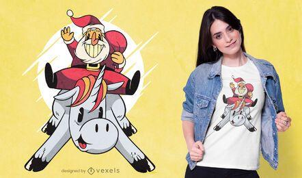 Christmas on unicorn t-shirt design