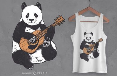 Diseño de camiseta de guitarra panda