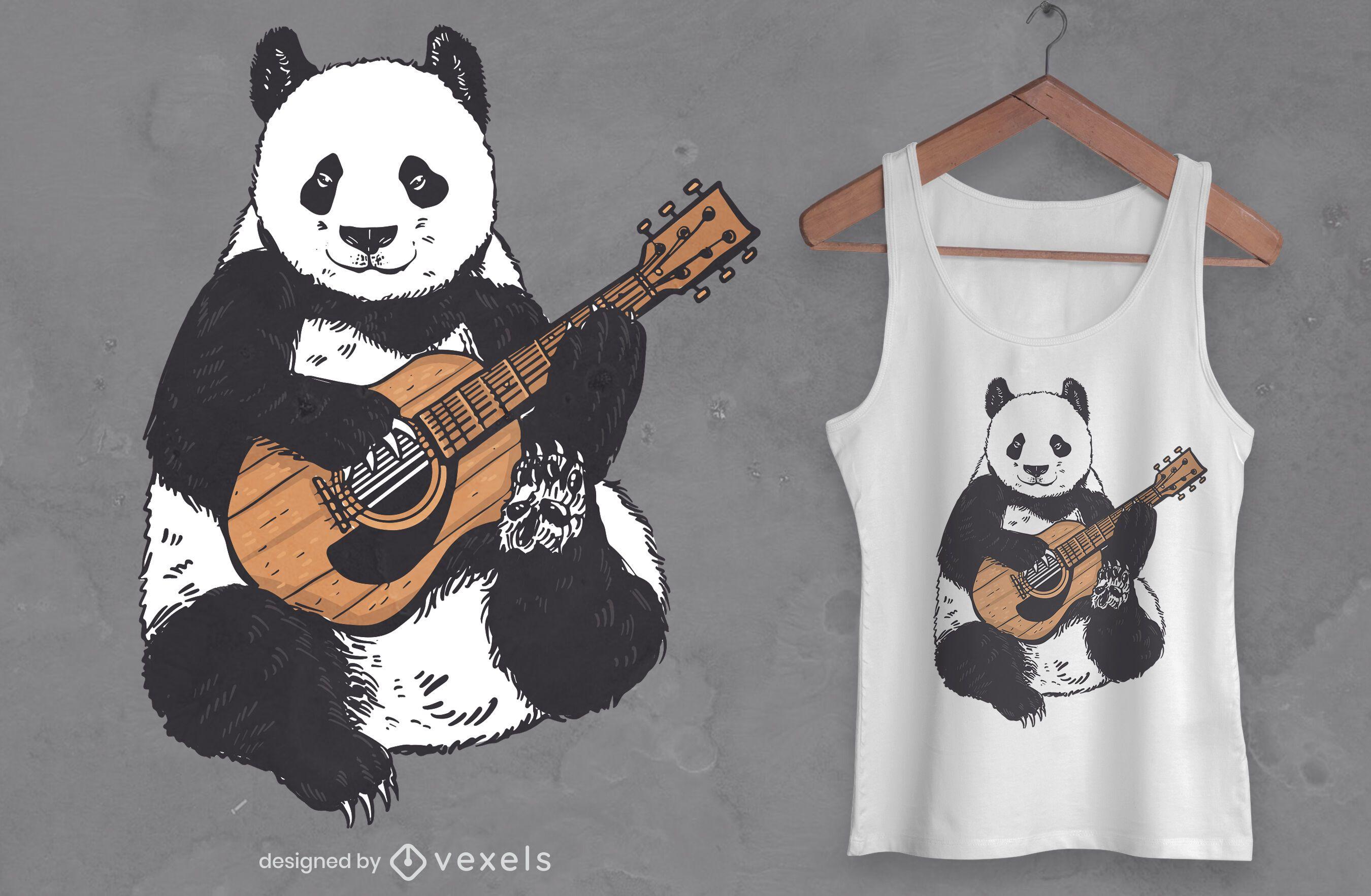 Guitar panda t-shirt design