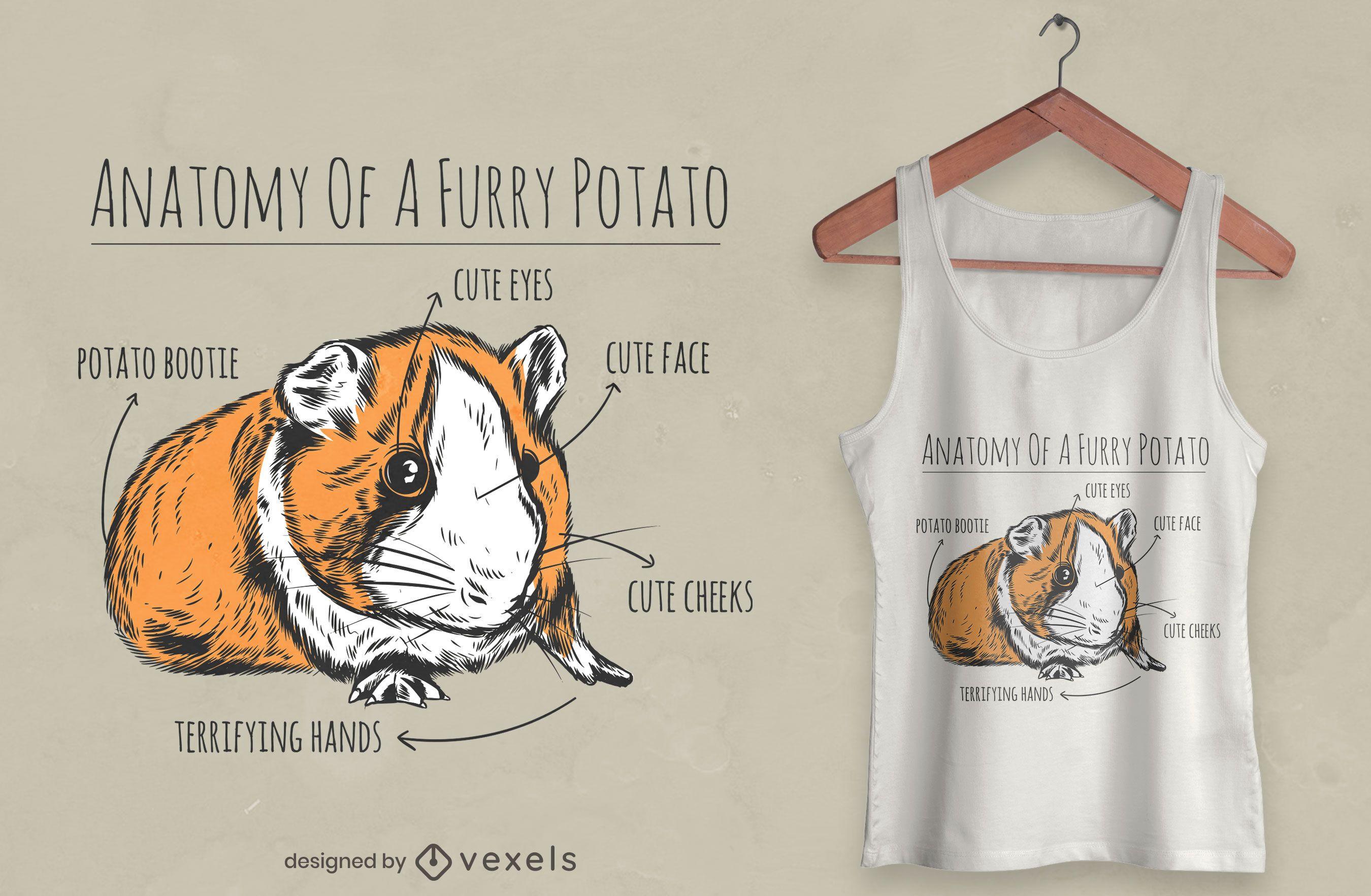 Diseño de camiseta de anatomía de conejillo de indias