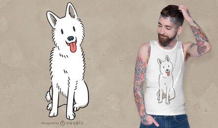Diseño de camiseta de perro pastor blanco