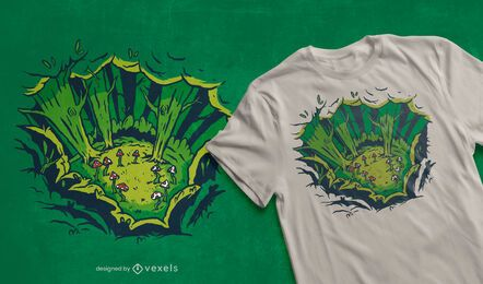 Design de camisetas de cogumelos da floresta