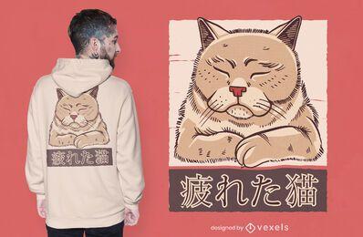 Diseño de camiseta de gato cansado