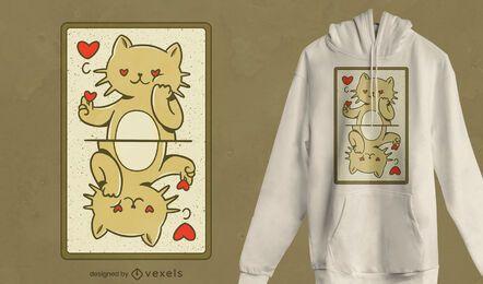Diseño de camiseta con tarjeta de gato