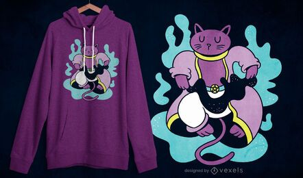 Diseño de camiseta de gato mago