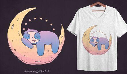 Design de camiseta da preguiça na lua
