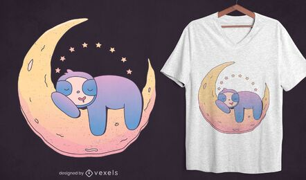 Faultier auf Mond T-Shirt Design