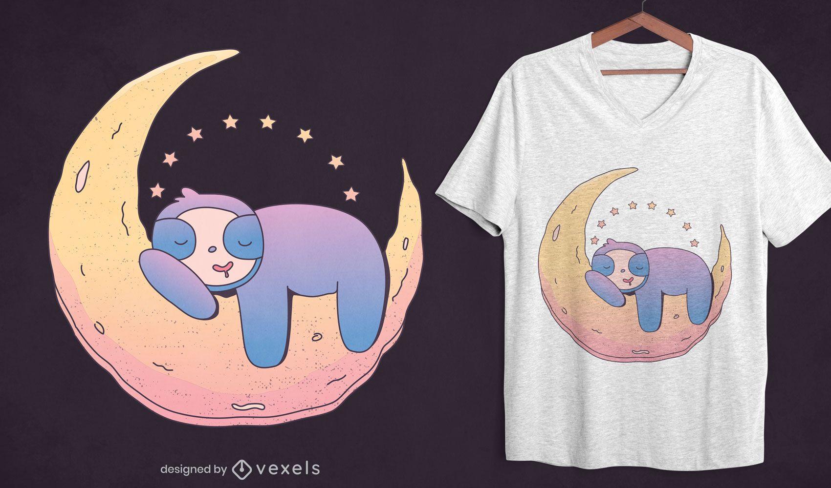 Diseño de camiseta de perezoso en la luna