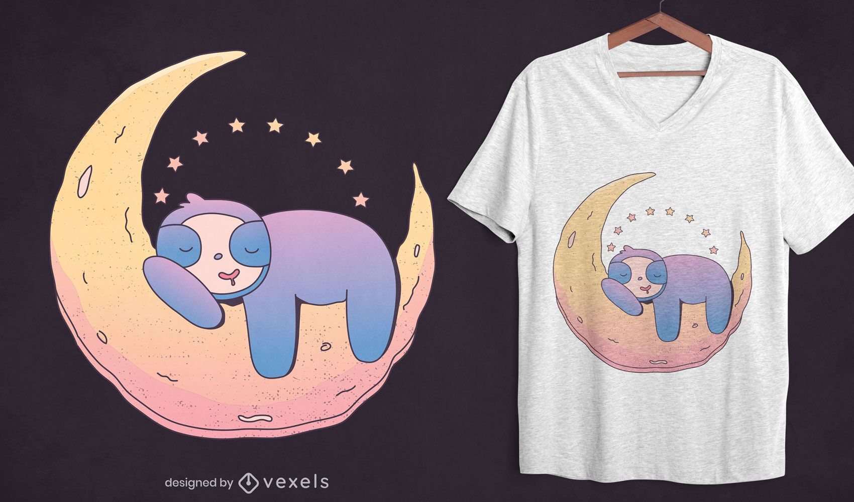 Sloth on moon t-shirt design