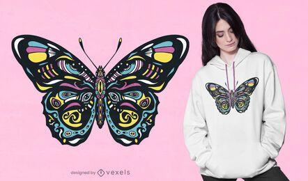 Diseño de camiseta de mariposa colorida