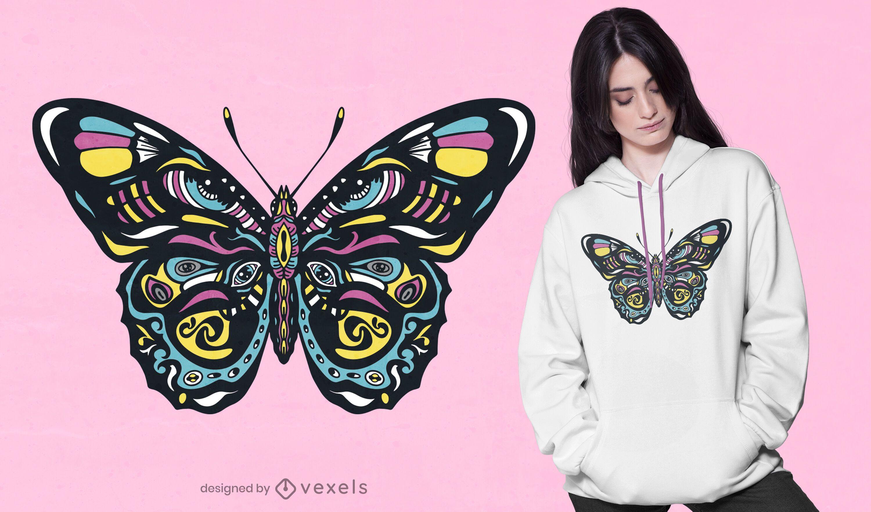 Dise?o de camiseta de mariposa colorida