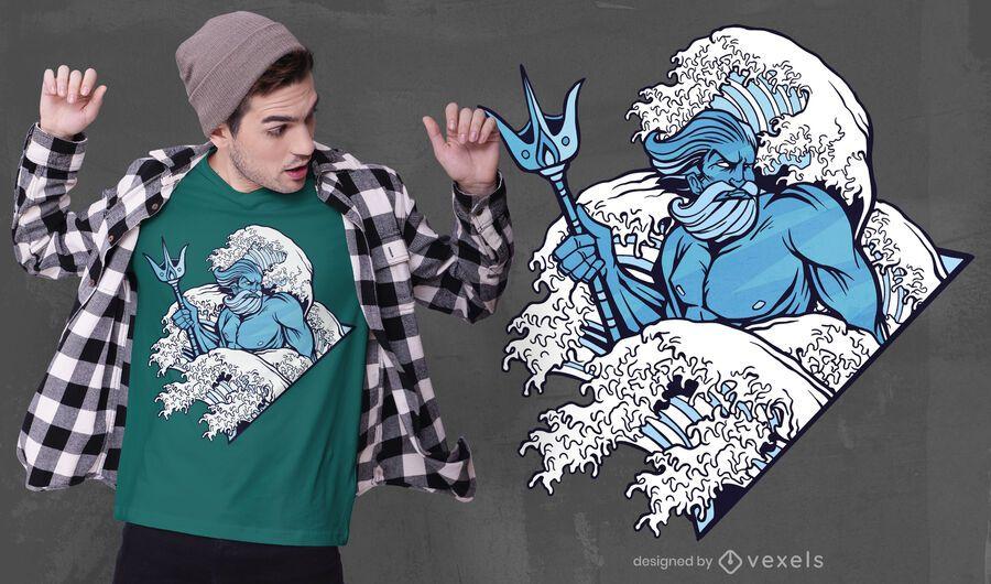 Diseño de camiseta dios poseidón