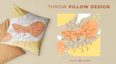 Sun throw pillow design
