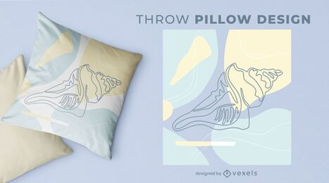 Large shell throw pillow design