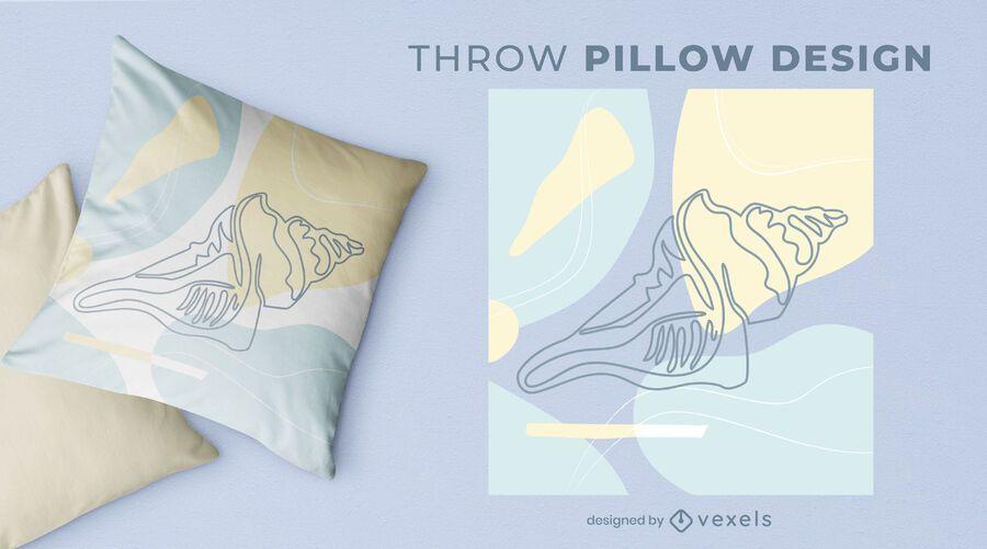 Large shell throw pillow design