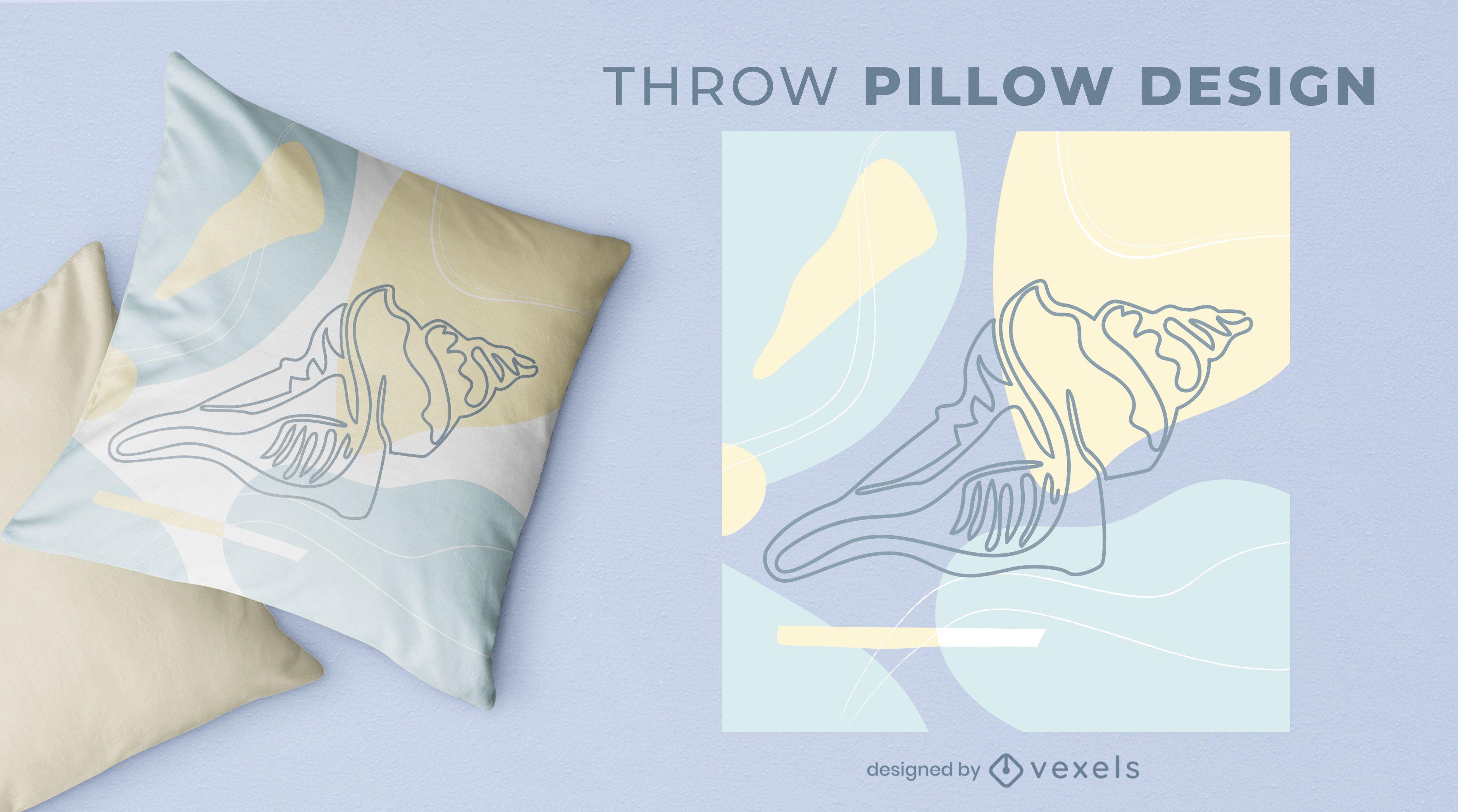 Diseño de almohada de tiro de concha grande