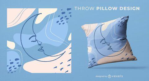 Diseño de almohada de tiro de luna abstracta