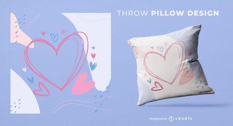 Diseño de almohada de tiro de corazones