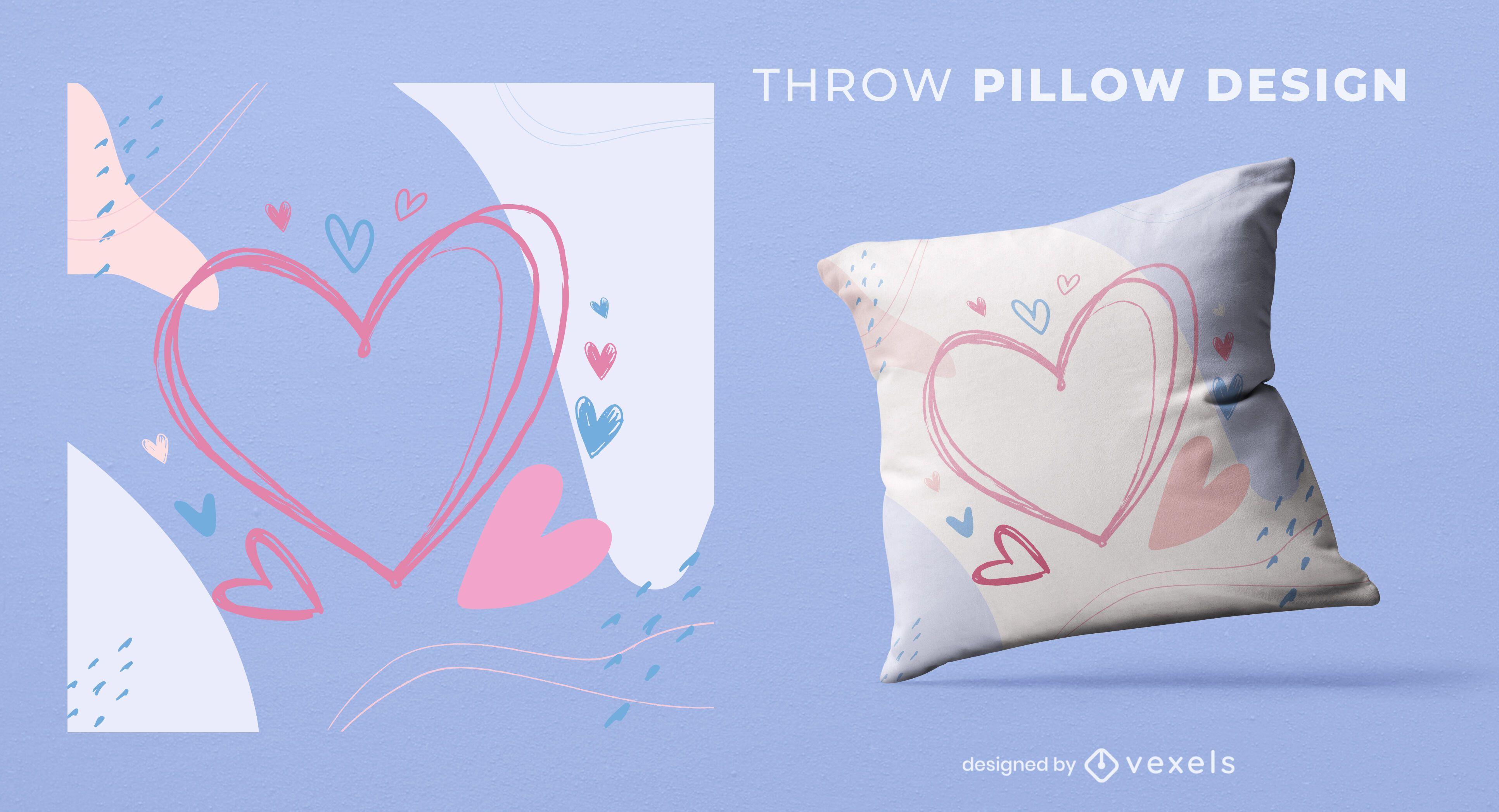 Hearts throw pillow design