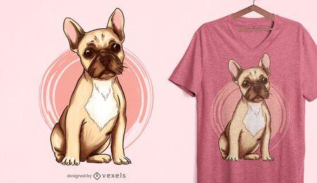 Diseño de camiseta de bulldog francés