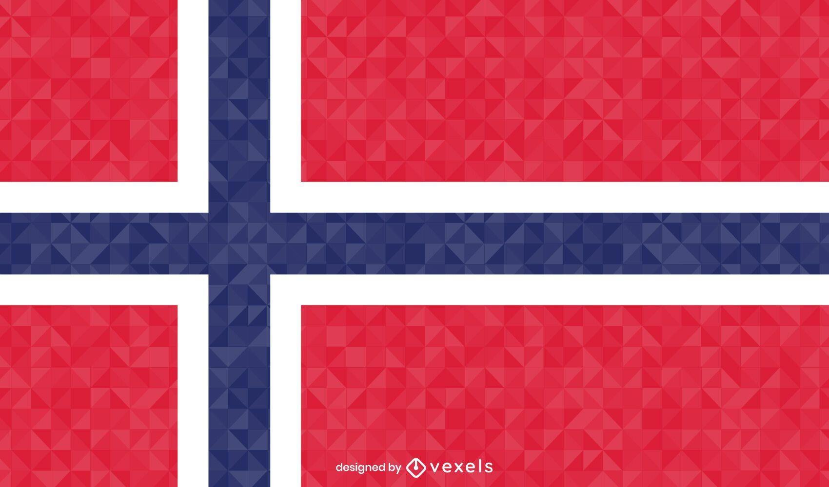 Desenho poligonal da bandeira da Noruega