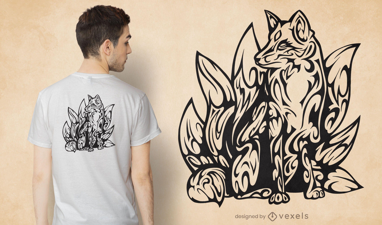 Diseño de camiseta tribal kitsune