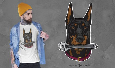 Doberman with wrench t-shirt design