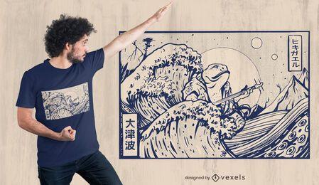 Design de camiseta de sapo japonês